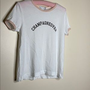 WildFox | White Champagneover Pink Lined Crop Tee